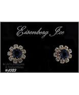 Eisenberg Ice Blue Rhinestone Earrings Halo Style (#J1323) - $30.00