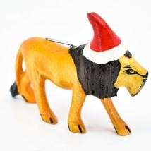 Hand Carved Painted Jacaranda Wood Santa Hat Lion Safari Christmas Ornament