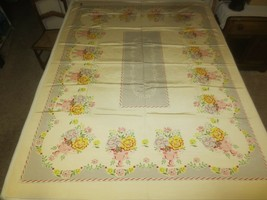 "NOS w/Tag CALIFORNIA HAND PRINTS FLORAL Hermosa Cloth TABLECLOTH - 52"" x... - $34.60"