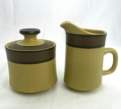 Carriage House Stone Dinnerware Sugar Bowl and Cream Pitcher Gold Brown ... - $39.59