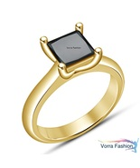 Solitaire Wedding Ring Yellow Gold Plated 925 Silver Princess Cut Black ... - $64.89