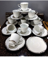 VINTAGE Style House Fine China Embassy Pattern Set of 10 Tea Cups with S... - $37.50
