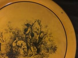 "Vintage Neiman Marcus Metal Round Serving Tray Platter Italy 17"" Orange Rustic image 2"