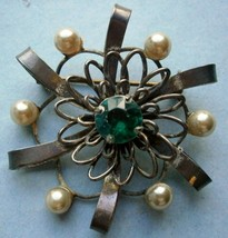 Sterling Silver Brooch/Pin with Blue Rhinestone and Pearls - $20.00