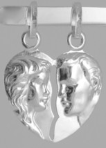 18K WHITE GOLD DOUBLE BROKEN HEART PENDANT CHARM MAN WOMAN 29 mm MADE IN ITALY image 2