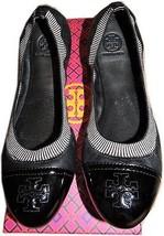 Tory Burch Caroline Elastic Trim Ballerina Flat Black Patent Ballet Shoe... - $139.91