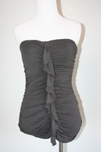 EXPRESS Dark Gray Tube Top with center ruffle, ruched sides XS - $14.84