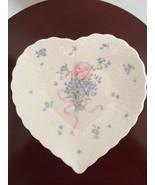 Vintage Mikasa Japan Bone China Heart Shape Candy Plate/Dish forget me not  - $40.53