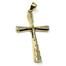 18K YELLOW WHITE GOLD CROSS, ROUNDED TUBE SMOOTH, HAMMERED, 2.9cm 1.14 inches image 2