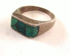 Early 1930s Sterling Silver with Blue Glass Inset Ring - $22.95
