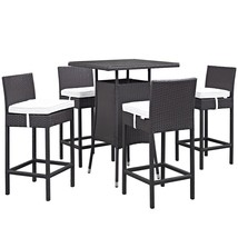 Convene 5 Piece Outdoor Patio Pub Set Espresso White EEI-1963-EXP-WHI-SET - $830.25