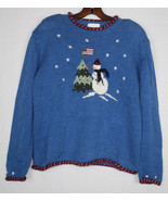 Ugly Christmas Sweater Holiday Wear Hand Embroidered M Snowman Flag Tree... - $24.70