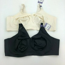 CATHERINES No Wire Back Smoother Bra 52 DDD LOT OF 2 Off White & Black A... - $35.72
