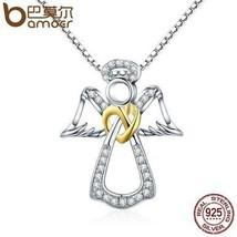 BAMOER Authentic 925 Sterling Silver Guardian Angel Heart Pendant Neckla... - $29.99