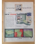 CRANE Bathroom Fixtures Vintage Ad Sink Toilet Bathtub Green Plumbing Re... - $10.00