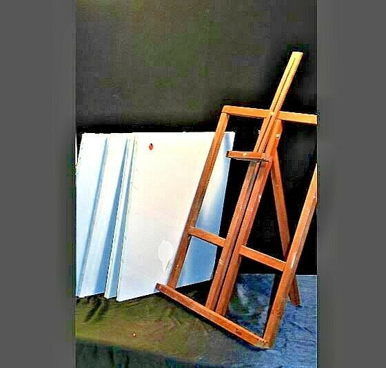 Vintage Wooden Desk Easel with 4 new canvasAA19-1432