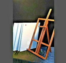 Vintage Wooden Desk Easel with 4 new canvasAA19-1432 image 1