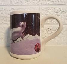 Coca Cola 1996 Gibson Coffee Tea Cup Mug Polar Bear Skiing Winter Snow - $9.84