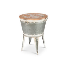 19.9-Inch Diameter Metal Beverage Tub w/ Wood Farm Top on Stand Ice Ches... - $138.59