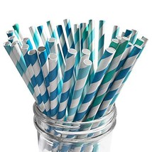 EcoLife Partners 250-Biodegradable Paper Straws in Bulk. 3 Different Col... - $12.60