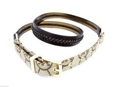 Michael Kors Belt Logo + Whipstitched Leather Goldtone L NWOT Metallic Backing - $39.00