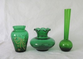 Bud Vases - Emerald / Forest Green, Anchor Hocking - $14.00