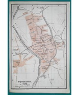 1897 BAEDEKER MAP - ENGLAND Worcester City Plan + Cathedral Ground Plan - $7.65