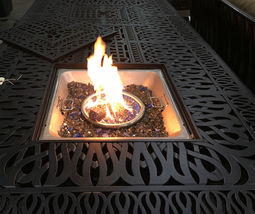 9 piece outdoor dining set with fire pit propane cast aluminum table and chairs  image 3