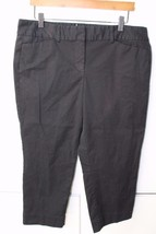 W11824 Womens ANN TAYLOR LOFT Marisa black stretch CROP PANTS cotton/spa... - $30.87