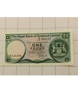 1981 The Royal Bank Of Scotland Limited 1 One Pound Sterling Bank Note - $20.00