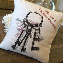Santa's Headquarters Christmas Pillow rustic toys keys Xmas Gift Holiday... - $20.00