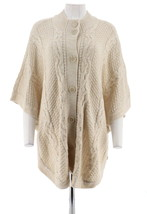 Denim & Co Stand Collar Button Front Cable Poncho Sweater Natural XL NEW... - $30.67