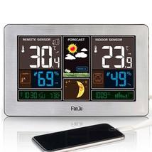 Digital Alarm Clock Weather Station Wall Indoor Outdoor Temperature Humi... - $65.97+