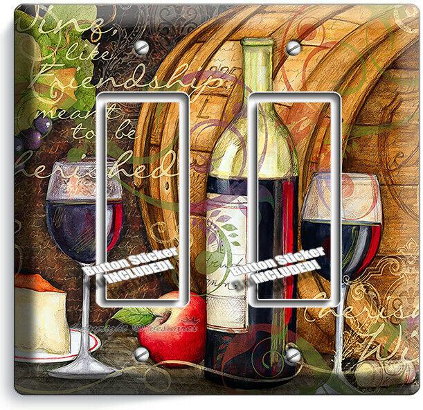 FRENCH MERLOT WINE BOTTLE BARREL CHEESE 2 GFCI LIGHT SWITCH PLATES KITCHEN DECOR