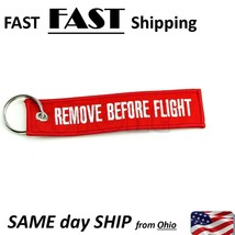 Remove Before Flight Key Chain Luggage Tag Pull Woven Embroidery Keychain - $8.99