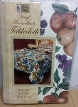 "FLANNEL BACK TABLECLOTH ROUND 60"", (4 people) FRUITS # 2 by BH - $15.83"
