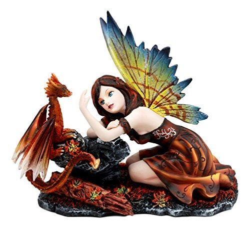 Ebros Enchanted Friendship Beautiful Fairy with Baby Dragon Statue Decorative My