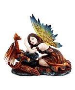 Ebros Enchanted Friendship Beautiful Fairy with Baby Dragon Statue Decor... - $29.69