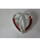 Nolan Miller Heart Shaped Pin Brooch With Red and Clear Stones Silver Tone - $49.49