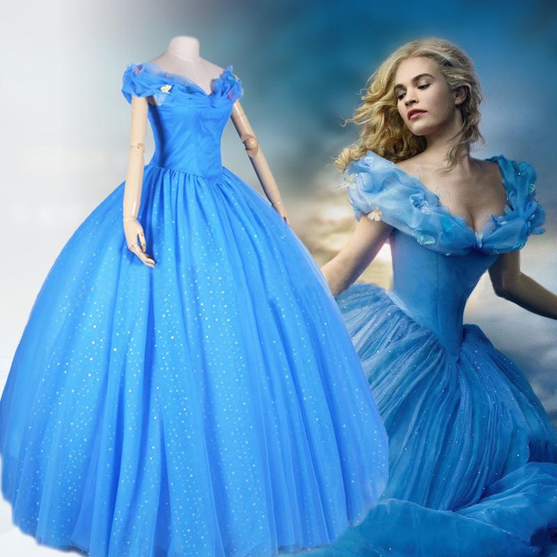 Princess Cinderella Dress Movie Cosplay Cinderella Costumes Custom Any Size for sale  USA
