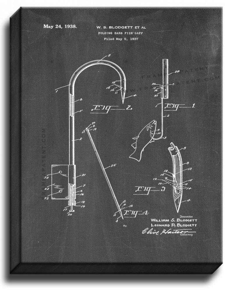 Primary image for Gaff for Fishing Patent Print Chalkboard on Canvas