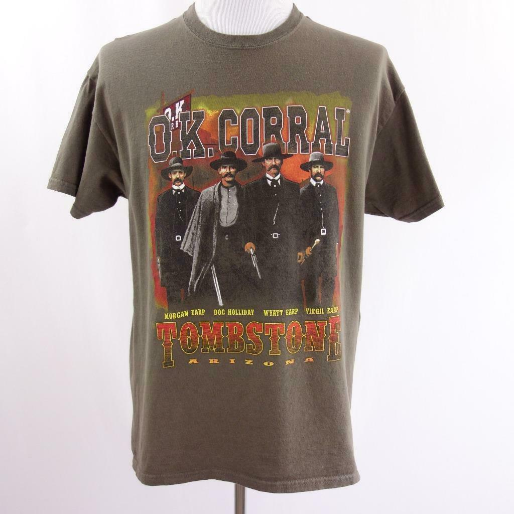 Primary image for OK Corral Tombstone Arizona Brown Graphic T Shirt Mens Sz L