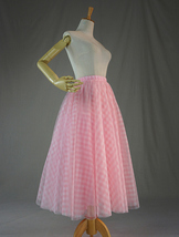 Women Pink Plaid Skirt A Line Long Plaid Skirt Pink Tulle Skirt image 6