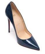 CHRISTIAN LOUBOUTIN Patent Leather Pump SO KATE 120 Blue Pointed Toe 38 NEW - $660.25