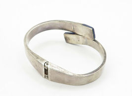 MEXICO 925 Silver - Vintage Lapis Lazuli Detail Bypass Cuff Bracelet - B6256 image 3
