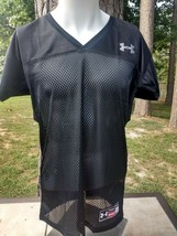NWT Under Armour solid black football jersey shirt practice games HEATGEAR  - $19.50
