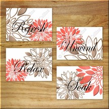 Coral Brown Bathroom Wall Art Prints/Picture Decor Floral Flower Refresh... - $13.99