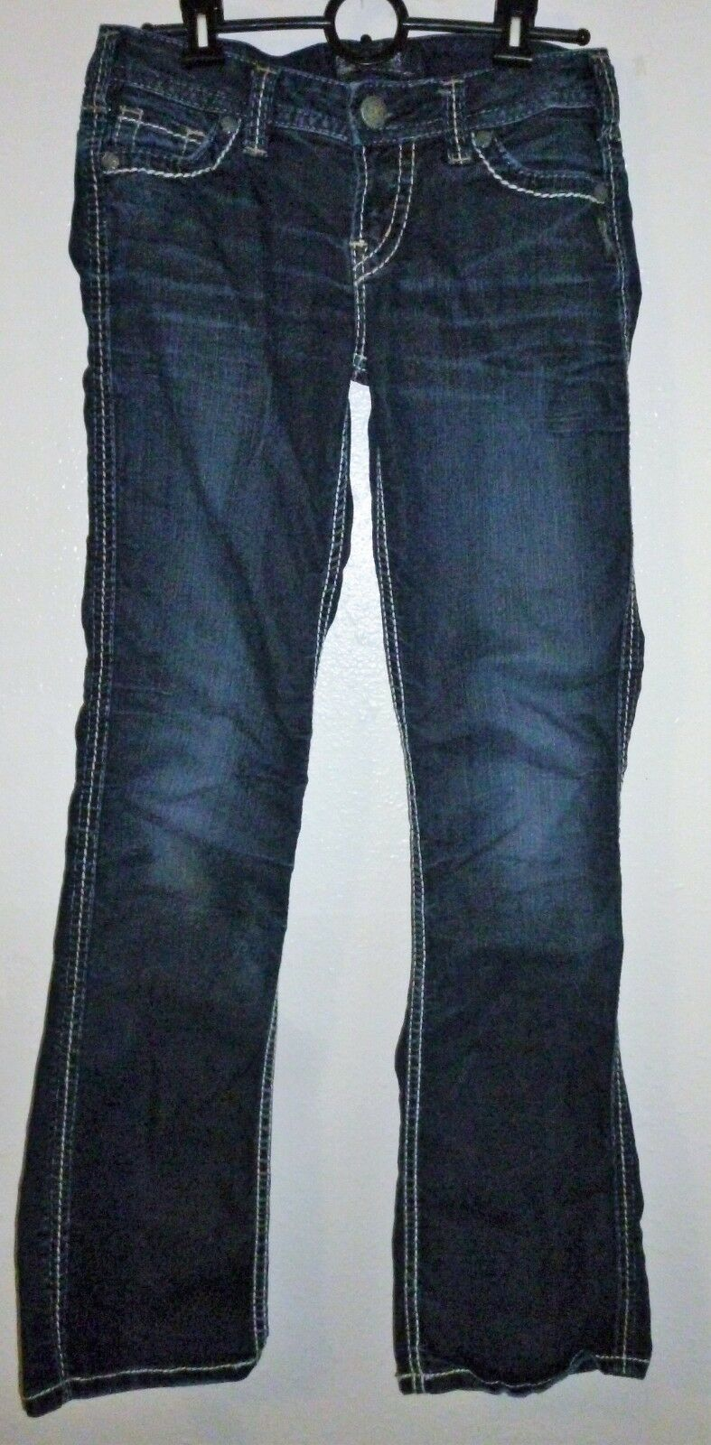 Primary image for New! SILVER Jeans Frances Girls Sz 18 Dark Wash Bootcut Thick Stitch W 26 L 31