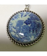 Beautiful, 1.5in W Blue Willow Pendant with 20in Cord Necklace - $23.70