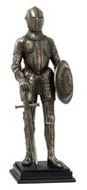 "Medieval Knight Statue Bronze Finishing Cold Cast Resin Statue 12 3/4"" tall - $47.37"